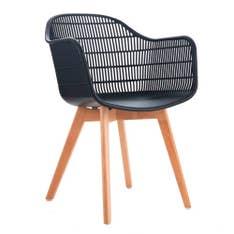 Cadeira Agnes com Braço Preta Lignum